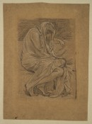 Chalk study on brown paper of a huddled woman wrapped in a piece of fabric.