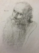 head of an old man with long beard