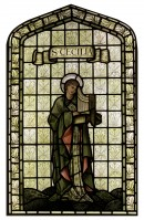 C76 St. Cecilia stained glass panel