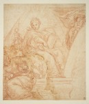 Red chalk drawing of crowned woman sitting a throne and gazing down at a crouching figure holding a child. Sections of the drawing have been cut away and replaced during the development of the composition.