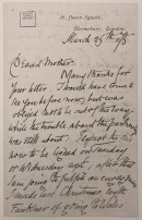Handwritten letter from William Morris to his mother