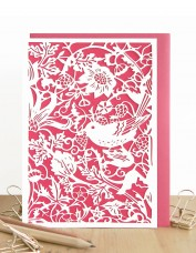 Strawberry Thief (red) Laser Cut Card