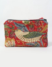 Strawberry Thief Cosmetics Bag (red)