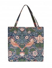 Strawberry Thief Tapestry Tote Bag (blue)