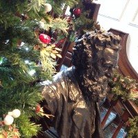 William Morris bust at Christmas