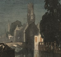 Detail of print of Bruges with canal at night